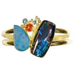 Boulder Opal, Drusy, Bracelet Set with Boulder Opal Earrings in 22k and 18k Gold