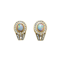 Opal Earrings 14 Kt Yellow Gold 1.70 Ct White Diamonds Channel Set French Clip
