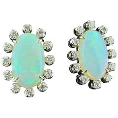 Opal Earrings Set in 14 Karat White Gold Surrounded with Diamonds