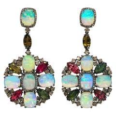 Opal Earrings with Tourmalines and Diamonds