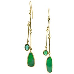 Opal Emerald Gold Earrings