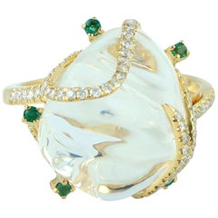 Opal Emerald 18 Karat Gold Diamond Ring