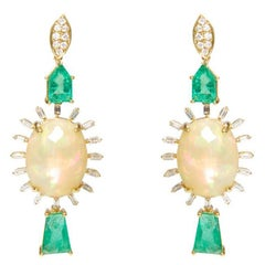 Opal Emerald and Diamond Earrings