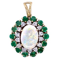 Opal, Emerald, and Diamond Pendant