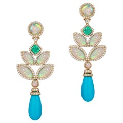 Goshwara Opal, Emerald And Turquoise Drop With Diamond Earrings