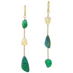 Opal Emerald Diamond 18 Karat Gold Linear Earrings