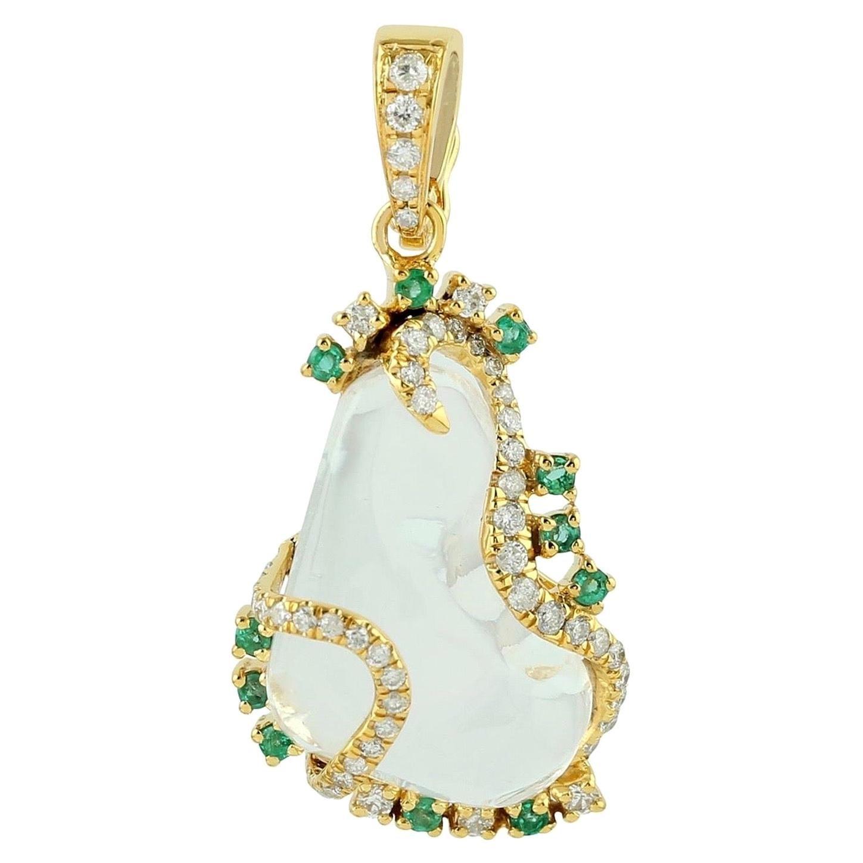 Opal Emerald Diamond 18 Karat Gold Pendant Necklace