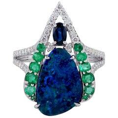 Opal Emerald Diamond 18 Karat Gold Ring