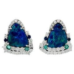 Opal Emerald Diamond 18 Karat Gold Stud Earrings