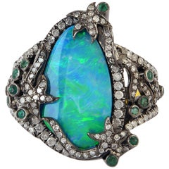 Opal Emerald Diamond Cocktail Ring