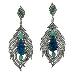 Opal Emerald Diamond Earrings