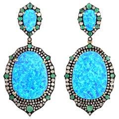 Opal Emerald Diamond Earrings
