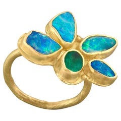 Opal Emerald Flower Gold Ring