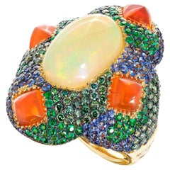 Opal, Emerald, Sapphire and Diamond Contemporary Yellow Gold Cocktail Ring