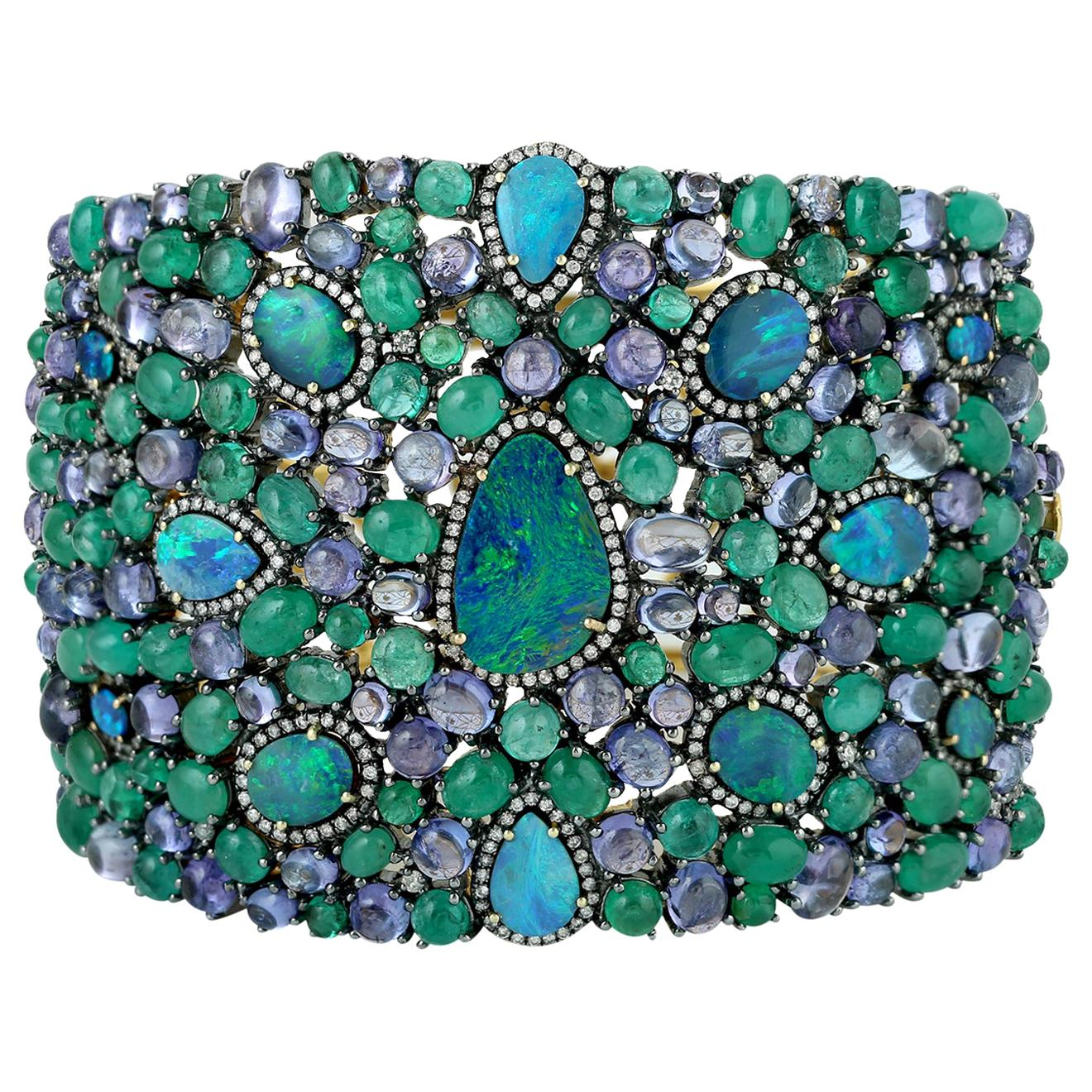 Opal Emerald Tanzanite and Diamond Cuff Bracelet in Gold and Silver