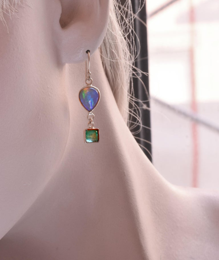 Opal Emeralds 18 Karat Gold Earrings In New Condition For Sale In New York, NY