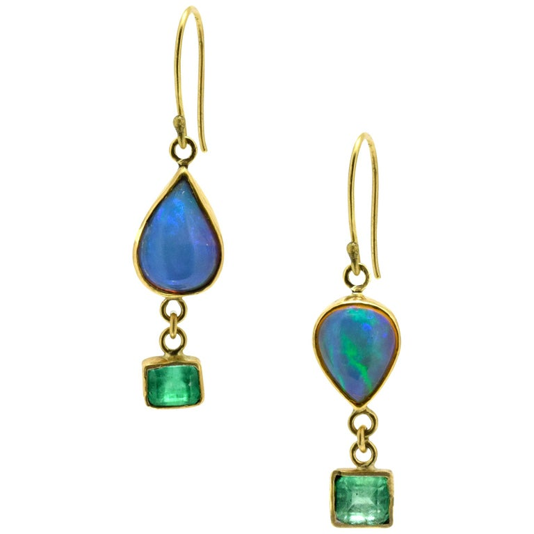 Opal Emeralds 18 Karat Gold Earrings For Sale