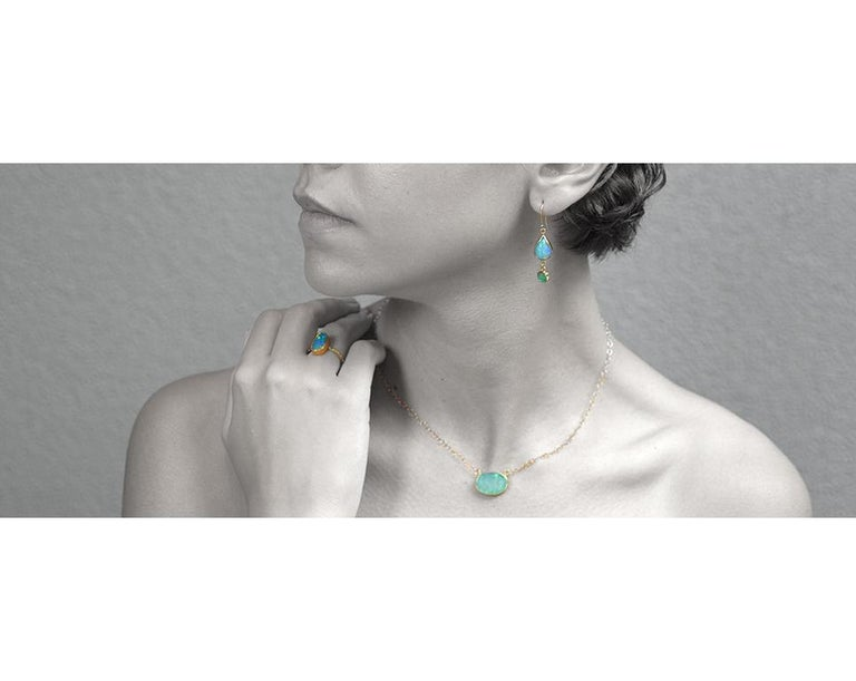 Contemporary Opal Emeralds 18 Karat Gold Earrings For Sale