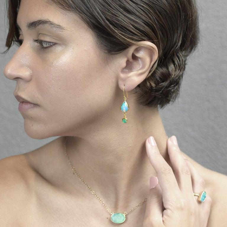 Oval Cut Opal Emeralds 18 Karat Gold Earrings For Sale