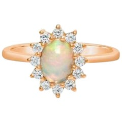 Opal Engagement Ring, Fire Opal Ring, Opal Wedding Ring, Dainty Opal Ring