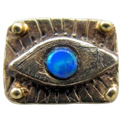 Opal Evil Eye Stud in 18k White Gold with 22k Granulation Beads