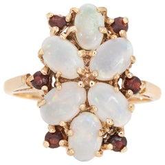 Opal Garnet Cocktail Ring Vintage 9 Karat Yellow Gold Estate Fine Jewelry