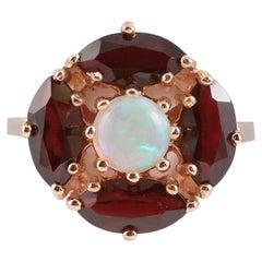 Opal Garnet Gold Ring