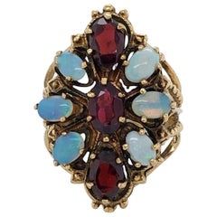 Opal Garnet Yellow Gold Cocktail Ring