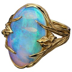 Opal Gold Ring Iris Art Nouveau Australian Opal 14 Karat Gold Statement Ring