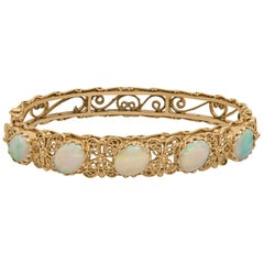 Opal Hinged Bangle Bracelet in 14 Karat with Filigree Design