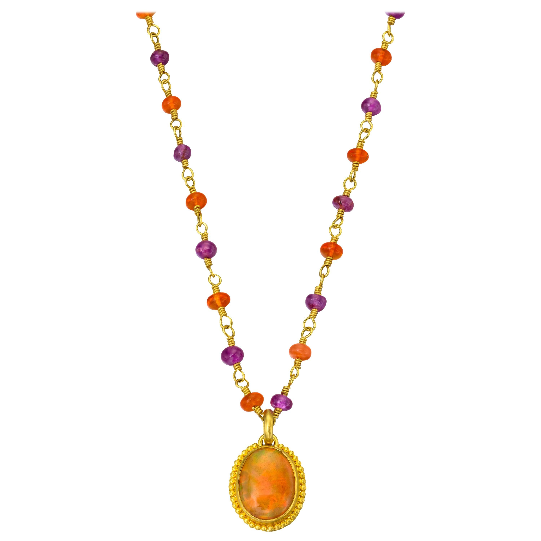 Opal in Yellow Gold 22 Karat Gold Pendant