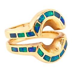 Opal Inlay 14 Karat Yellow Gold Ring Enhancer, Estate Ring Guard