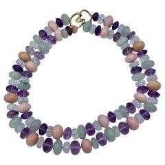 Opal Jade Amethyst Rock Crystal Necklace Estate Barbara Taylor Bradford OBE