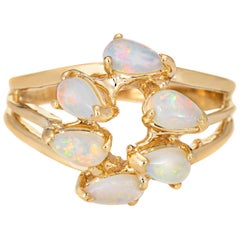 Opal Mosaic Ring Vintage 14 Karat Yellow Gold Estate Fine Jewelry Pear Cut