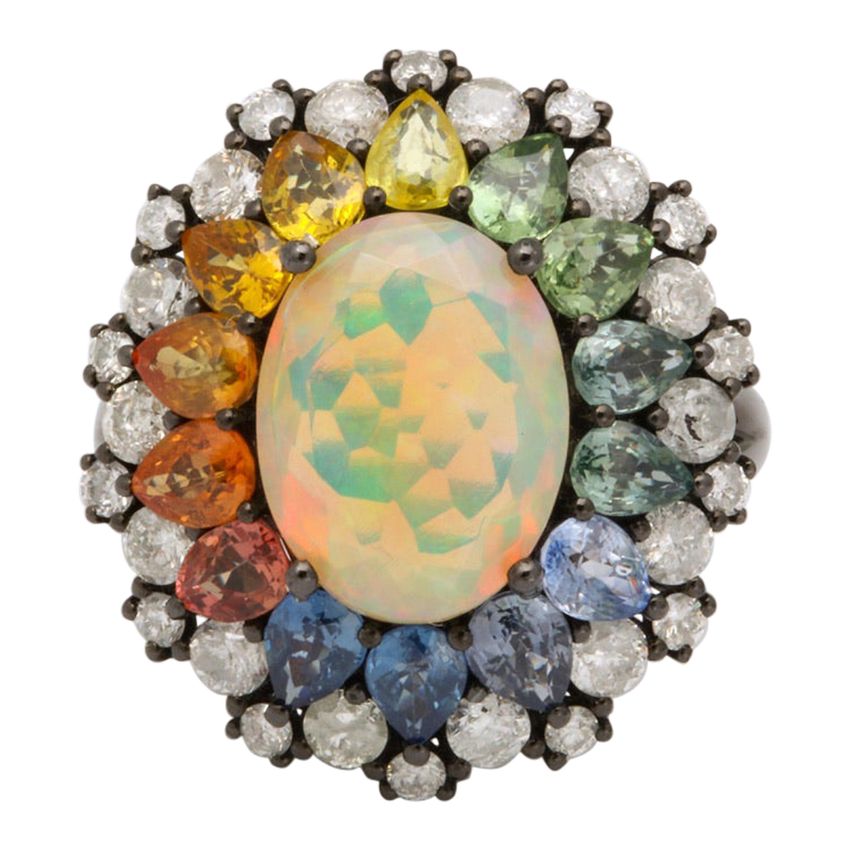 Opal Multi-Color Sapphire Diamond Gold Ring