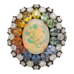Opal Multi-Color Sapphire Diamond Gold Ring