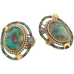 Opal Orb 18 Karat Rose Yellow Gold Opals Diamonds and Gemstones Earrings