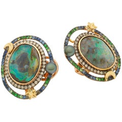 Opal Orb 18 Karat Rose Yellow Gold with Diamonds and Gemstones Earrings