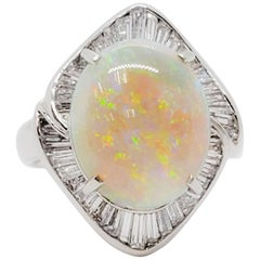 Opal Oval and White Diamond Cocktail Ring in Platinum