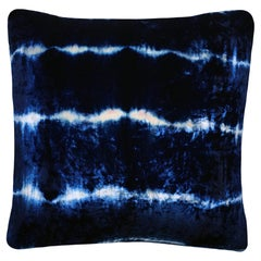 Opal Pale Pink and Blue Indigo Striped Velvet Pillow with Linen Backing