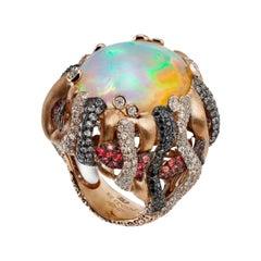 Opal Pariba Diamond Orang Sapphire Coktail Ring 18 Karat Yellow Gold