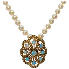 Opal Pearl Gold Pendant Necklace