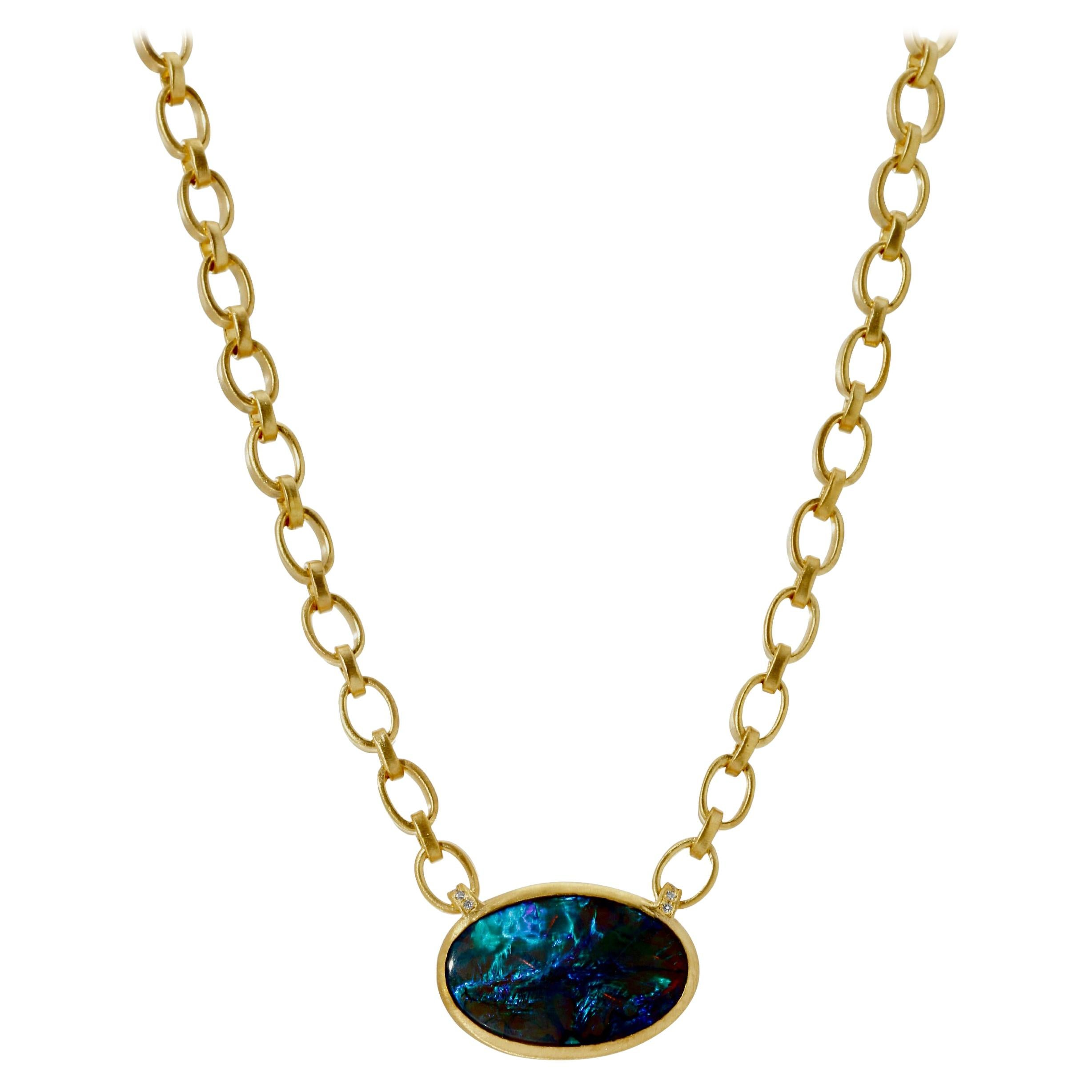 Opal Pendant Necklace on 18k Yellow Gold Handmade Chain with Toggle