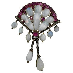 Opal Pink Sapphire Rose Cut Diamond Antique Victorian Brooch