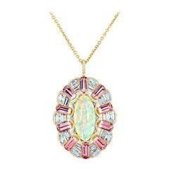 Cicada Opal, Pink Tourmaline, Aquamarine and Diamond Gold Pendant