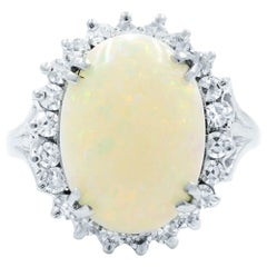 Opal Retro Vintage 3.40 Carat Diamond 0.75 Carat Ring 14 Karat White Gold