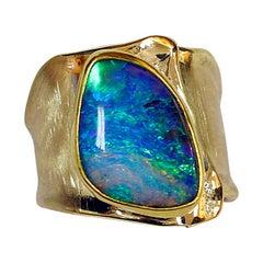 Boulder Opal Ring 18 Karat 22 Karat Gold