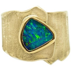 Opal Ring 22 Karat Gold 18 Karat Gold Textured Wide Band