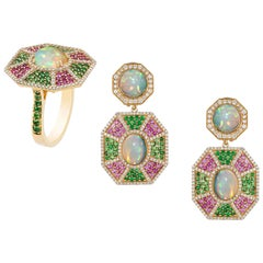 Goshwara Opal,Tsavorite, Pink Sapphire With Diamond Ring & Earrings