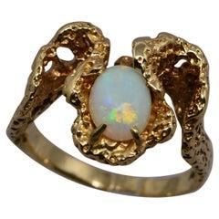Opal Freeform Style 14 Karat Yellow Gold Ring